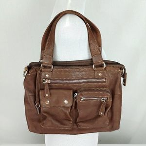 FOSSIL Brown Pebbled Leather Satchel Bag Purse